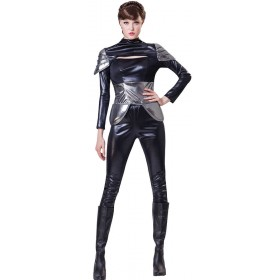 Ladies Black Spy/Secret Agent Fancy Dress Costume