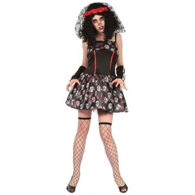 Ladies Day Of The Dead Skull Dress Halloween Fancy Dress Costume