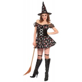 Ladies Witch With Skull Design Halloween Fancy Dress Costume