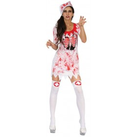 Ladies White Bloody Nurse Halloween Fancy Dress Costume