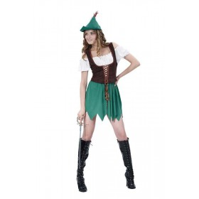 Ladies Robin Hood Lady (Budget) Medieval Outfit - One Size (Green, Brown, White)