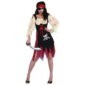 Ladies Pirate Zombie Wench Halloween Outfit - One Size (Red, White, Black)