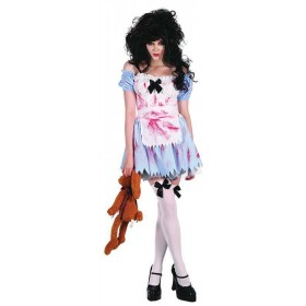 Ladies Zombie Girl Halloween Outfit - One Size (Blue, White)