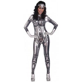 Ladies Robot Jumpsuit Female Outfit - One Size (Silver)