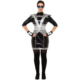 Ladies Black Futuristic Lady Fancy Dress Costume