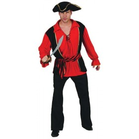 Mens Pirate Captain (Waistcoat & Shirt / Hat) Accessories - (Brown)