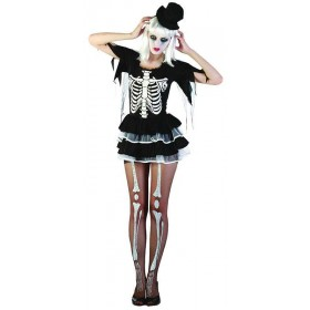 Ladies Skeleton Lady Halloween Outfit - One Size (Black, White)