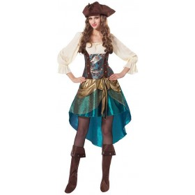 Ladies Deluxe Pirate Princess Fancy Dress Costume