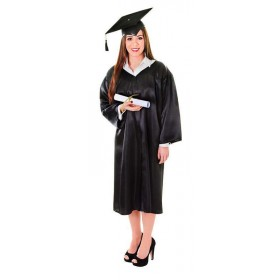 Graduation Robe & Hat. Unisex Accessories - (Black)