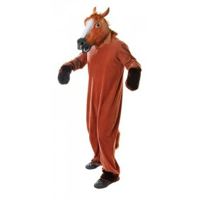 Adult Unisex Horse (Mask & Body) Animal Outfit - One Size (Brown)