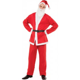 Santa Suit (Budget) 5 Piece Fancy Dress Costume