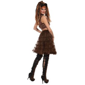 Ladies Brown Steampunk Crinoline Fancy Dress Costume