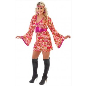 Ladies Pink 60'S Flower Power Fancy Dress Costume