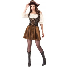 Ladies Gold Rose Pirate Fancy Dress Costume