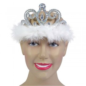 Tiara Silver. Clear Stone + White Marabou Accessories