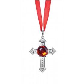 Cross Necklace With Large Red Stone Accessories