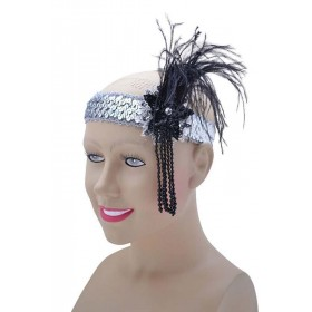 Flapper H'Band. Silver Sequin Band Deluxe Accessories