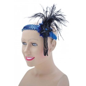 Flapper HeadBand Blue Sequin Band Deluxe Accessories