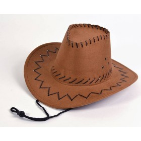 Cowboy Hat.Leather Stitch, Brown, Childs (Cowboys/Indians Fancy Dress Hats)