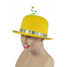 Clown Bowler. Yellow + Flower Hats