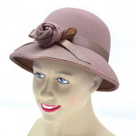 Lady'S Hat 1920'S Style. Plush Beige Hats
