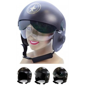 Adult Ace Jet Fighter Pilot Helmet Fancy Dress Accessory