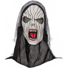 Adults Shrieking Banshee Mask With Hood Halloween Fancy Dress Costume