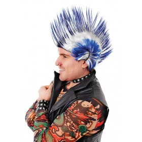 Mohican Blue/White Wigs