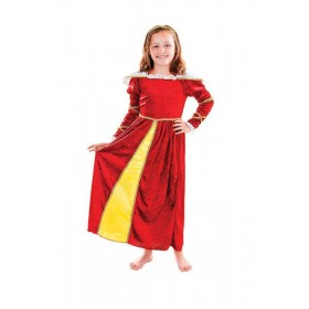 Girls Tudor Girl, With Headpiece (128Cm) Tudor Outfit - One Size (Red)