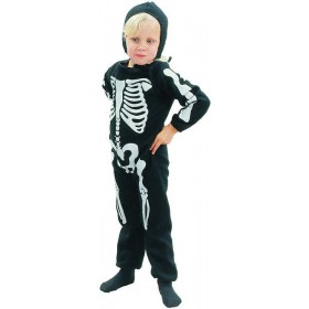 Toddler Skeleton Boy Halloween Outfit - One Size (Black, White)