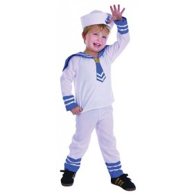 Toddler Sailor Boy Sailor Outfit - (White, Blue)