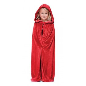 Velvet Red Hooded Cloak Halloween Outfit - One Size