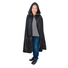 Velvet Black Hooded Cloak 88Cm Halloween Outfit - One Size