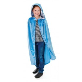 Velvet Pale Blue Hooded Cloak 88Cm Halloween Outfit - One Size