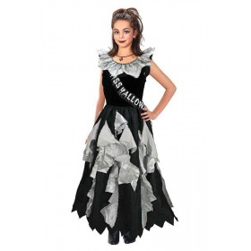 Girls Zombie Prom Queen Halloween Outfit - (Black, Grey)