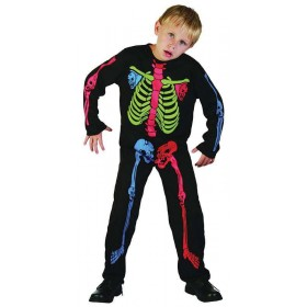 Boys Skeleton Boy. Multi Colour Halloween Outfit - (Multicolour)