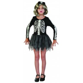 Girls Skeleton Girl Halloween Outfit - (Black, White)