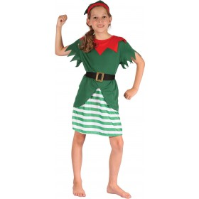 Girls Red And Green Christmas Santas Helper Fancy Dress Costume