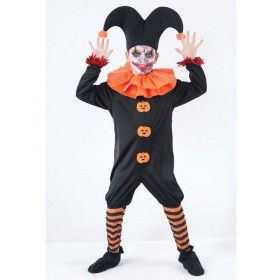 Boys Evil Jester Halloween Outfit - Age 7-9 (Black, Orange)