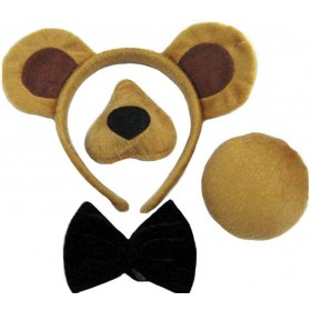 Bear Set (Ears, Nose, Tail + Bow Tie Animal Outfit - One Size