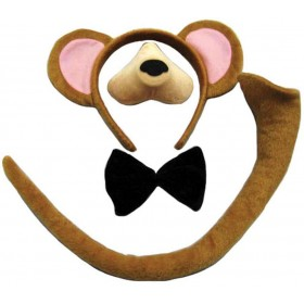 Monkey Set (Ears, Nose, Tail + Bow Tie) Animal Outfit - One Size