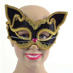 Black/Gold Cat Mask. Glass Frame Accessories