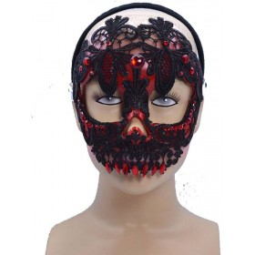 One Size Sugar Skull Eye Mask Red/Black  Fancy Dress Accessory
