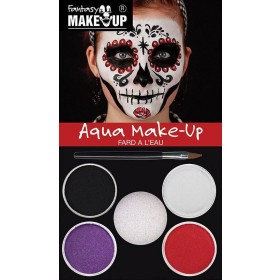 Adults Day Of The Dead Auqa Halloween Makeup Kit