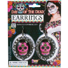Ladies Day of the Dead Skull Earrings Halloween Fancy Dress Accessory