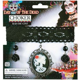 Ladies Day of the Dead Choker (Black Rose & Cameo) Halloween Fancy Dress Accessory
