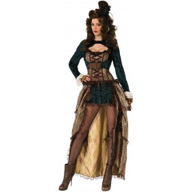 Ladies Quality Deluxe Madame Steampunk Fancy Dress Costume