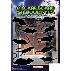 Silhouette Shadow Rats 10pc Halloween Decoration