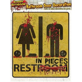 Bloody Unrestroom Door Sign Halloween Decoration.