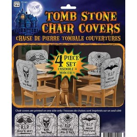Tombstone Chair Cover 4 Piece Set Halloween Decoration.